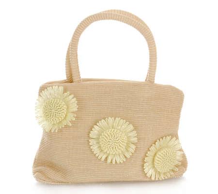 designer bag: beach bag isolated on white background Stock Photo