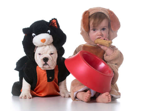 feeding confusion - child dressed like a dog and dog dressed like a cat Stock Photo