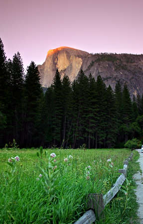 Half Dome is a granite dome at the eastern end of Yosemite Valley, possibly the Valley's most familiar sight. The granite crest rises more than 4,737 feet (1,440 m) above the Valley floor Stock Photo - 614304
