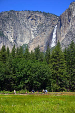 Yosemite Falls is the highest measured waterfall in North America. Located in Yosemite National Park in the Sierra Nevada mountains of California, it is a major attraction in the park, especially in late spring when the water flow is at its peak.