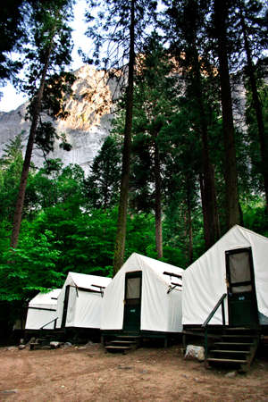 Curry Village, also known as Camp Curry, is located in the Yosemite Valley of Yosemite National Park. Curry Village may be considered the hub of Yosemite Valley Stock Photo - 614207