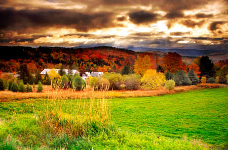 Fall foliage at Vermont, USA   Stock Photo
