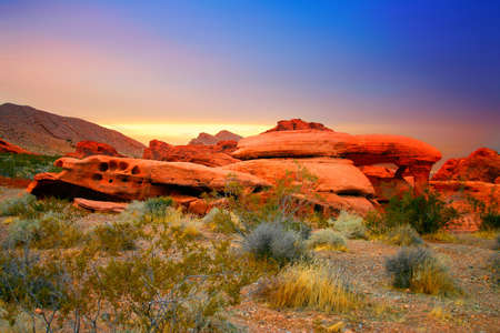 The Red Rock Canyon National Conservation Area is located just a few miles west of Las Vegas and encompasses 197,000 acres within the Mojave Desert.  Red Rock is an  area of world wide geologic interest and beauty. The most significant geologic feature of Stock Photo - 622653