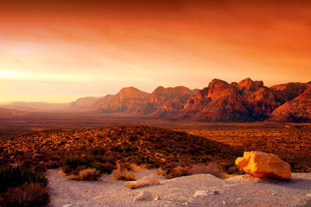 desert sunset: The Red Rock Canyon National Conservation Area is located just a few miles west of Las Vegas and encompasses 197,000 acres within the Mojave Desert.� Red Rock is an� area of world wide geologic interest and beauty.�The most significant geologic feature of