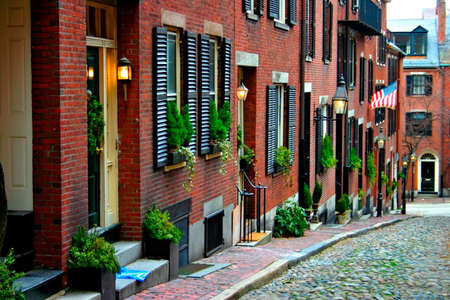row: Beacon Hill is a fascinating, early 19th century neighborhood with narrow streets. The row houses are nearly all in brick in Federal, Victorian and Georgian styles. This National Historic District is exceptionally well-preserved, with well maintained hous