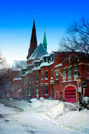 Snow scene at Beacon Hill, Boston after blizzard photo