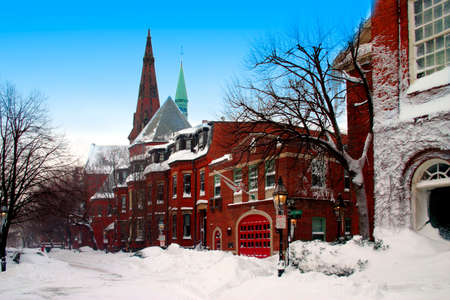 Snow scene at Beacon Hill, Boston after blizzard Stock Photo - 622538