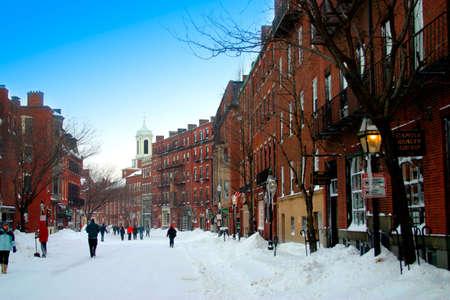 Sc�ne de neige � la colline de balise, Boston apr�s temp�te de neige Banque d'images