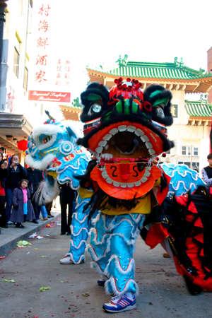 Danse du lion dans le quartier chinois, de Boston au cours de la c�l�bration du Nouvel An chinois Banque d'images