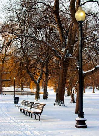 winter thaw: Boston Public Garden in snow, USA   Stock Photo