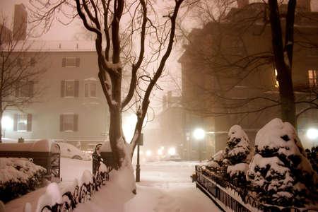 A wintery night in Beacon Hill, Boston   photo