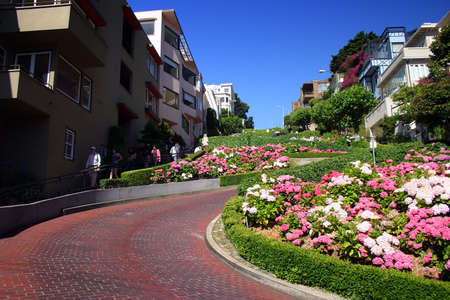 View of Lombard Street, the crookedest street in the world, San Francisco, California Stock Photo - 623955