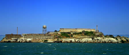 Alcatraz Island (some times referred to as The Rock) is a small island located in the middle of San Francisco Bay in California, United States that served as a lighthouse, then a military fortification, and then a federal prison for the area until 1969, w Stock Photo - 652722