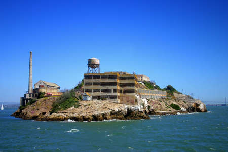Alcatraz Island (some times referred to as The Rock) is a small island located in the middle of San Francisco Bay in California, United States that served as a lighthouse, then a military fortification, and then a federal prison for the area until 1969, w Stock Photo - 652717