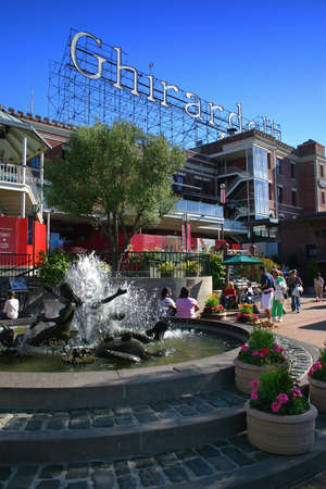 Ghirardelli Square is a tourist attraction with shops and restaurants in the Fishermans Wharf area of San Francisco, California.