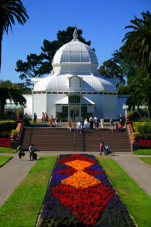 conservatory: Conservatory of Flowers in the Golden Gate Park in San Francisco, California