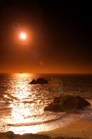 Ocean Beach is a beach that runs along the west coast of San Francisco, California, United States, at the Pacific Ocean   photo