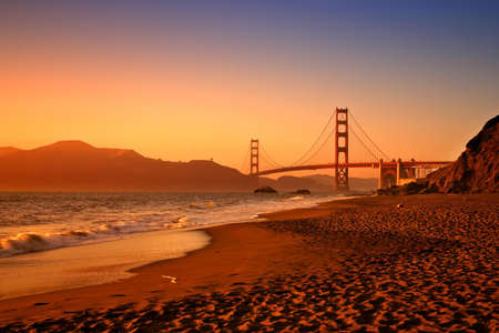 Baker Beach is a state and national public beach on the Pacific Ocean coast, on the San Francisco peninsula Stock Photo