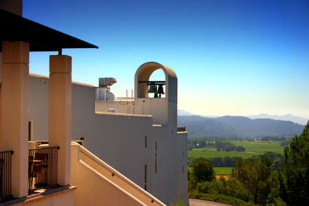 Sterling Vineyards is a beautiful Mykonos-style building on top of a hill overlooking the valley.