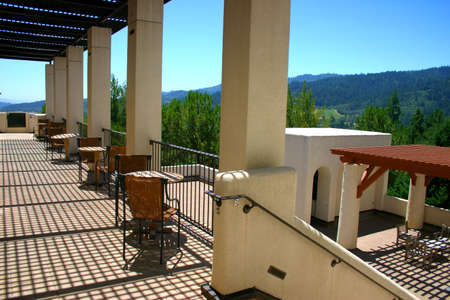 Sterling Vineyards is a beautiful Mykonos-style building on top of a hill overlooking the valley. Stock Photo - 733062