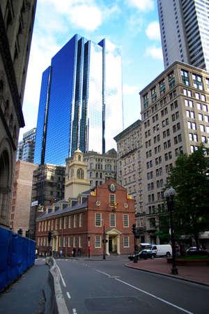 Le Old State House, le plus ancien b�timent public � Boston, a �t� construit en 1713 pour abriter les bureaux du gouvernement du Massachusetts Bay Colony.  Banque d'images