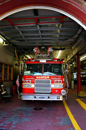 engine fire: Fire Department at Back Bay, Boston, Massachusetts   Stock Photo