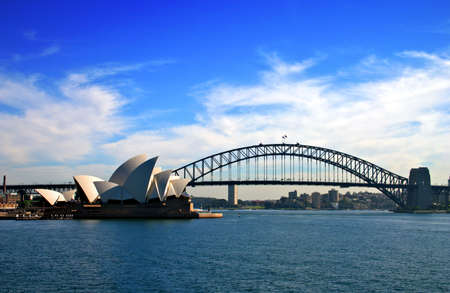 sydney harbour bridge: A water vista of the Sydney Harbour Bridge and Sydney Opera House