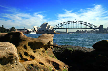 opera: A water vista of the Sydney Harbour Bridge and Sydney Opera House