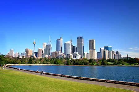 sydney  australia: A view of Sydneys skyline from the Royal Botanical Garden