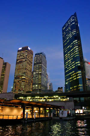 nightshot: A view of Sydneys skyline and Sydney Harbour  Stock Photo