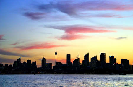 A view of Sydneys skyline and Sydney Harbour Stock Photo