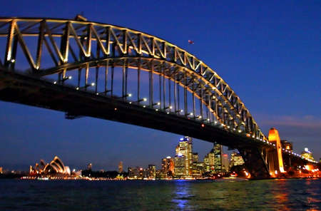 nightshot: A view of Sydneys skyline and Sydney Harbour