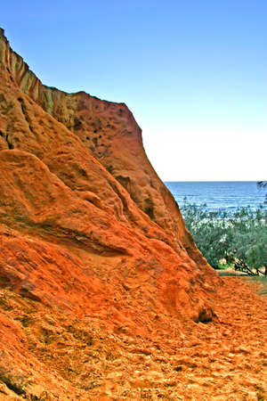 natural wonders: The Coloured Sands Fraser Island, known as the Pinnacles, sculptured by natures elements are truly one of Fraser Islands natural wonders   Stock Photo