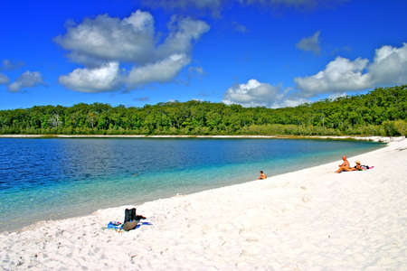 seafronts: Lake McKenzie is one of the popular freshwater lake at Fraser Island, Australia