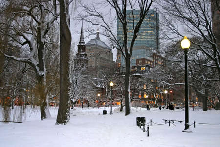 Snowy winter at Boston, Massachusetts, USA