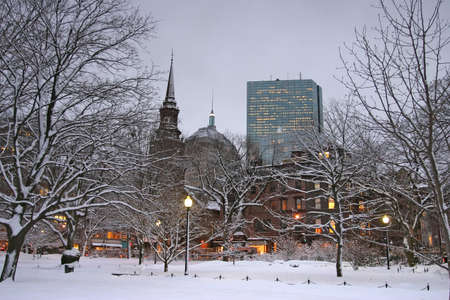 Snowy winter at Boston, Massachusetts, USArn