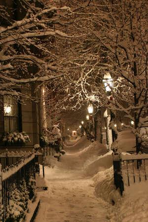 Stock image d'une chute de neige en hiver � Boston, Massachusetts, Etats-Unis