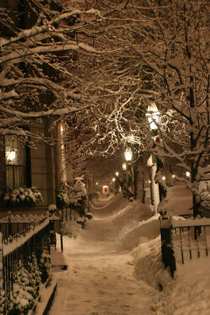 Stock image of a snowing winter at Boston, Massachusetts, USArn photo