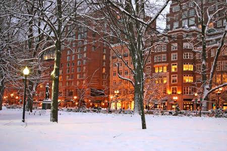 Stock image of a snowing winter at Boston, Massachusetts, USArn photo