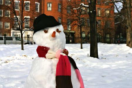Stock image of a snowman at Boston Common, Bostonrn photo