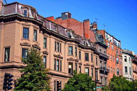Beacon Hill is a wealthy neighborhood of Federal-style rowhouses, with some of the highest property values in the United Statesrn Stock Photo