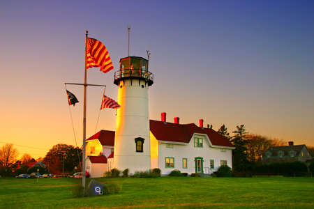 shifting: Chatham Lighthouse is a lighthouse in Chatham, Massachusetts, near the elbow of Cape Cod. In 1808 the first set of twin lights were constructed on the bluff named James Head to act as a set of range lights for the shifting shoals of the Chatham Harbor