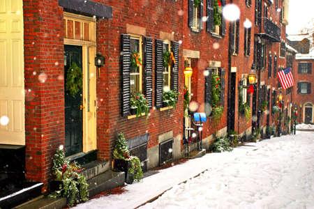 boston common: Stock image of a snowing winter at Boston, Massachusetts, USArn