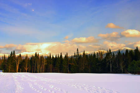 national scenic trail: Winter at Bretton Woods, New Hampshire Stock Photo