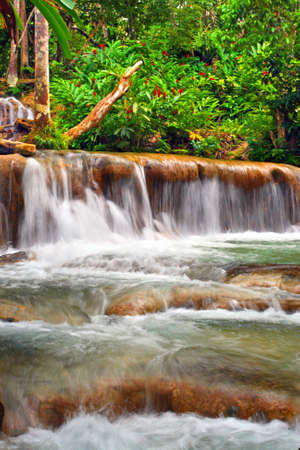 Dunns River Falls is a famous waterfall near Ocho Rios, Jamaica and a major Caribbean tourist attraction. The falls empty into the Caribbean Sea. It is one of the very few rivers in the world that actually fall directly into the sea.   photo