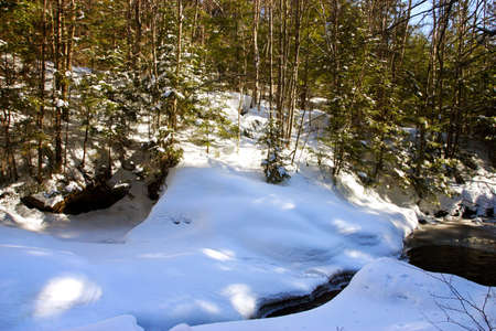 notch: Franconia Notch, north of the Flume. Called The Old Mans Foot Basin, the Basin may lack size, but makes up for it in geological interest: its said to have been formed during the past 25,000 years.    Stock Photo