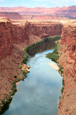 Colorado River flows through the Grand Canyon   Stock Photo
