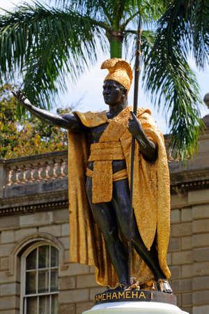 Statue of King Kamehameha, Honolulu, Hawaii   Stok Fotoğraf