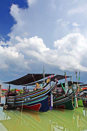 kelantan: The Bangau Maritime Figureheads. Colorful pattern of traditional fisherman boats in Kelantan, Malaysia.