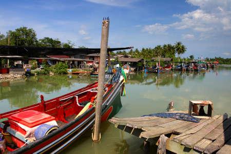 traditonal: The Bangau Maritime Figureheads. Colorful pattern of traditional fisherman boats in Kelantan, Malaysia.